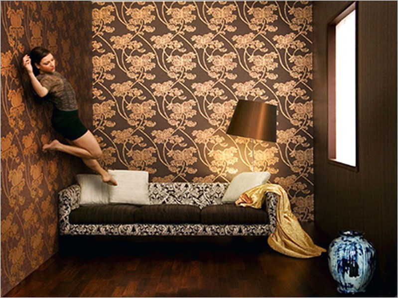 Brilian Ide Desain Wallpaper Dinding Ruang Tamu Minimalis Kecil Motif Bunga Elegan Mempesona Cantik Mewah Terbaru