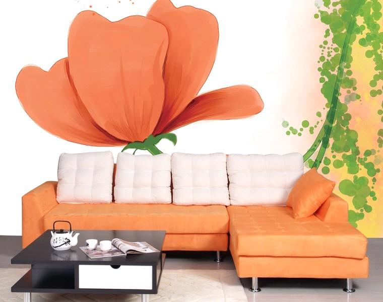Brilian Ide Desain Wallpaper Dinding Ruang Tamu Minimalis Motif 3D Bunga Warna Orange Elegan Mempesona Cantik Mewah Terbaru