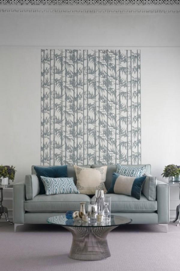 Brilian Ide Desain Wallpaper Dinding Ruang Tamu Minimalis Motif Bambu Abu Grey Putih Elegan Mempesona