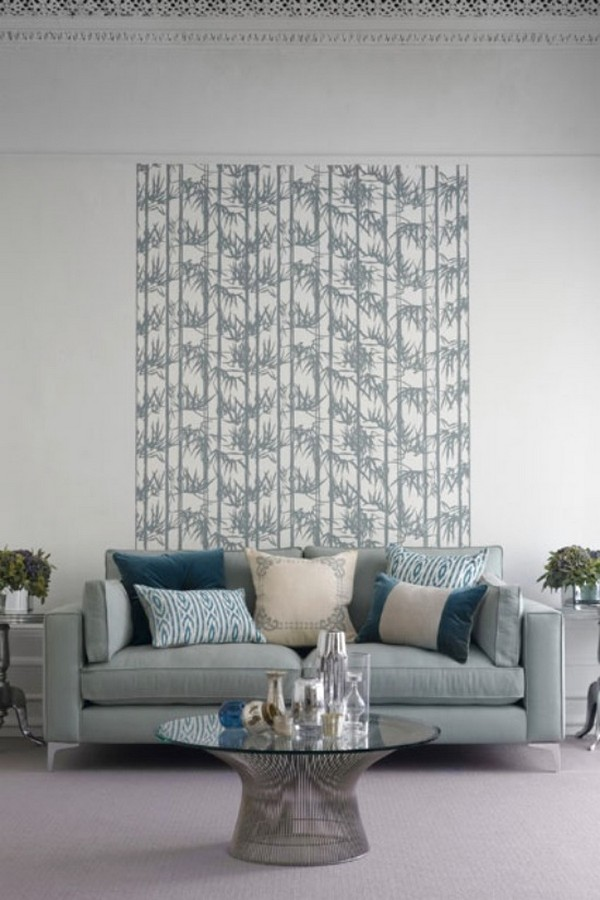 Brilian Ide Desain Wallpaper Dinding Ruang Tamu Minimalis Motif Bambu Abu abu Grey Putih Elegan Mempesona Cantik Mewah Terbaru