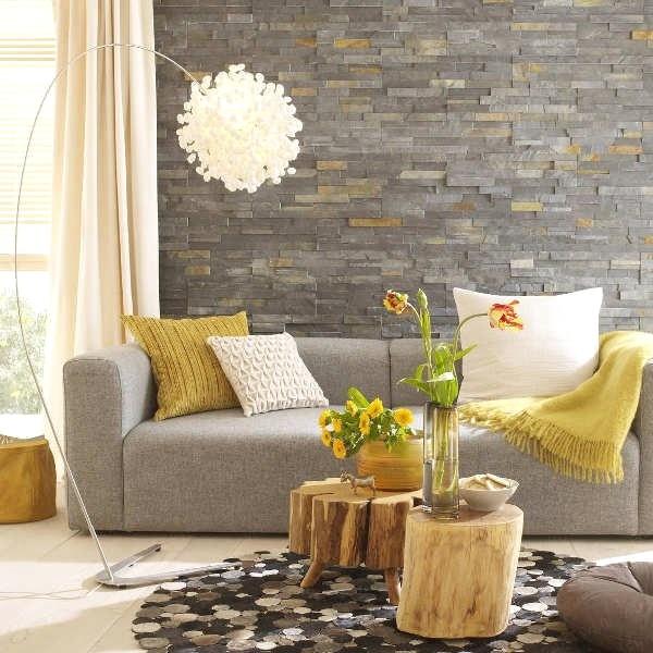 Brilian Ide Desain Wallpaper Dinding Ruang Tamu Minimalis Motif Batu Alam Nyaman Istimewa Terbaru Elegan Modern