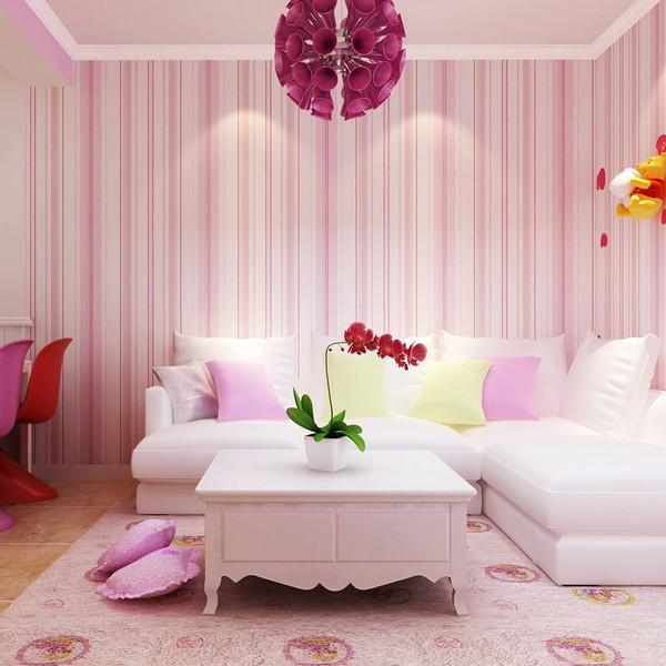 Brilian Ide Desain Wallpaper Dinding Ruang Tamu Minimalis Pink Motif Garis Garis Vertikal Elegan Mempesona Cantik Mewah