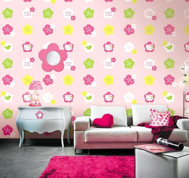 Cantik Ide Desain Wallpaper Dinding Ruang Tamu Minimalis Motif Hello Kitty Warna Pink Nyaman Elegan Mempesona Mewah Terbaru