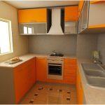 Desain Dapur Minimalis Mungil Sederhana Modern Terbuka Type 2x3 Warna Cat Orange Terbaru