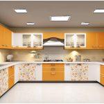 Desain Dapur Minimalis Mungil Sederhana Terbuka Elegant Type 3x3 Warna Cat Orange Terbaru