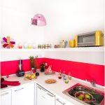 Desain Dapur Minimalis Mungil Sederhana Type 2x2 Warna Cat Pink Putih Terbaru