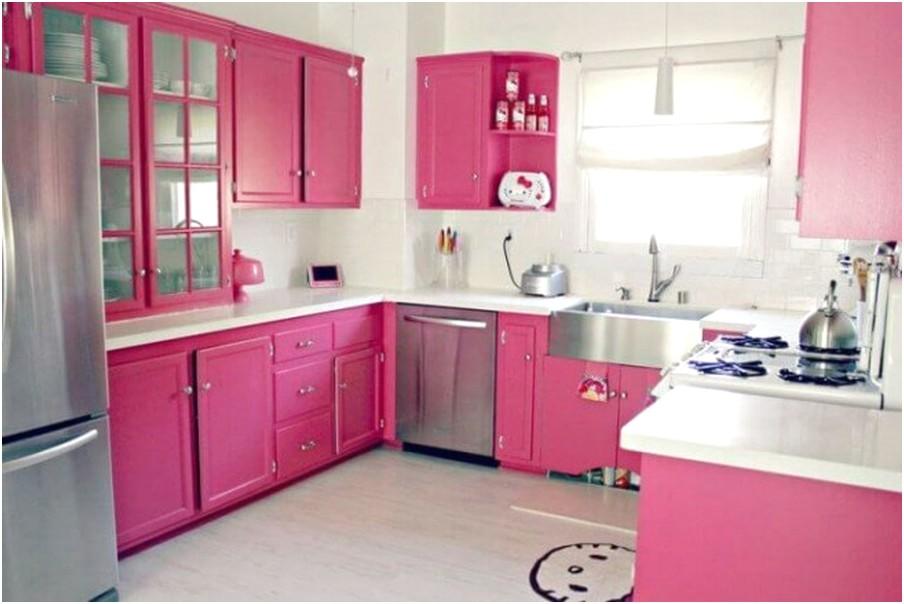 Desain Dapur Minimalis Mungil Sederhana Type 2 Warna Cat Ungu Putih Terbuka Terbaru