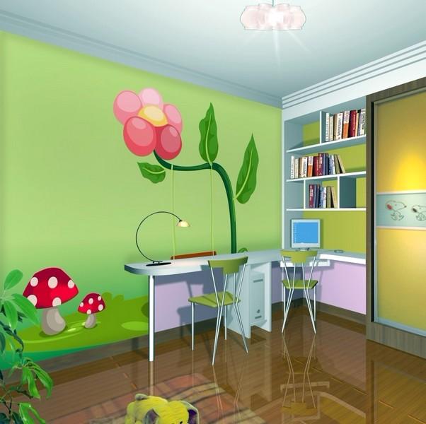Desain Wallpaper Dinding Ruang Tamu Minimalis Motif 3D Kartun Hijau Elegan Asri Nyaman Terbaru
