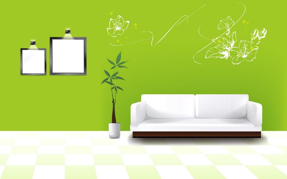 Desain Wallpaper Dinding Ruang Tamu Minimalis Motif Bunga Warna Hijau Putih Asri Elegan Mewah Nyaman Modern Terbaru