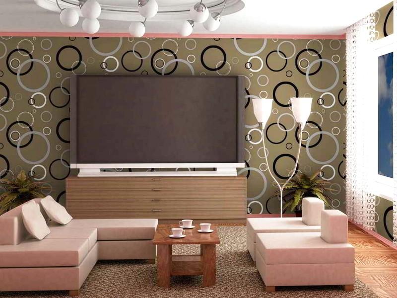 Desain Wallpaper Dinding Ruang Tamu Minimalis Motif Lingkaran Elegan Mewah Terbaru
