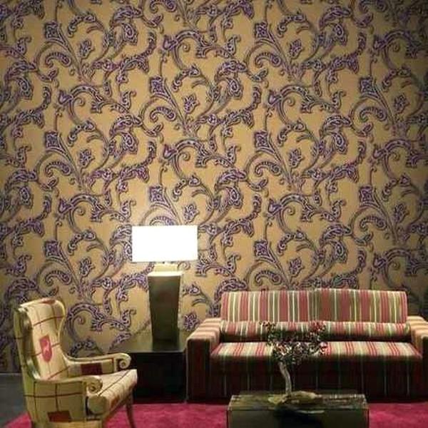 Desain Wallpaper Dinding Ruang Tamu Minimalis Motif batik Nyaman Klasik Elegan Terbaru