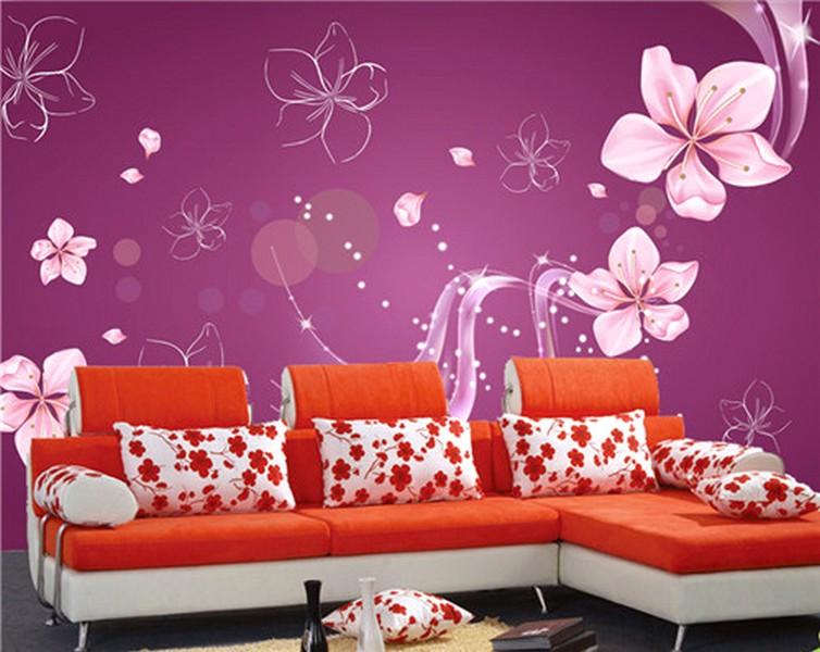 Desain Wallpaper Dinding Ruang Tamu Minimalis Pink Motif Bunga Cantik Nyaman Elegan Mempesona Mewah Terbaru
