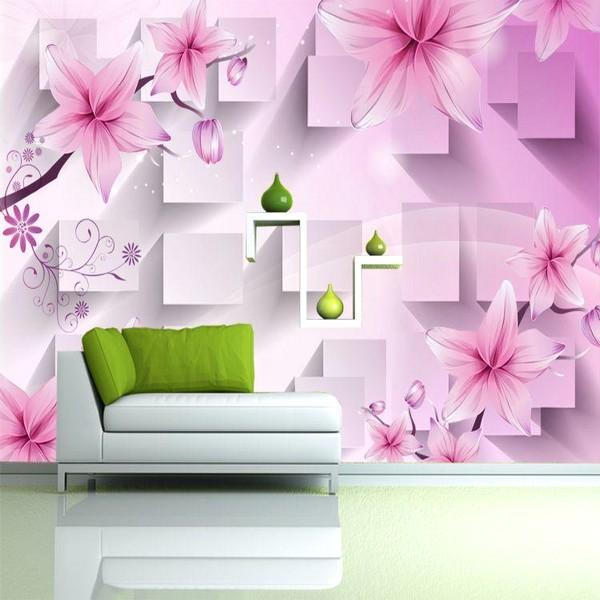 Desain Wallpaper Dinding Ruang Tamu Minimalis Pink Motif Bunga Sangat Indah Nyaman Elegan Mempesona Mewah Terbaru