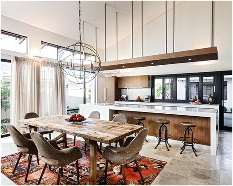 Desain ruang makan dan dapur terbuka sederhana