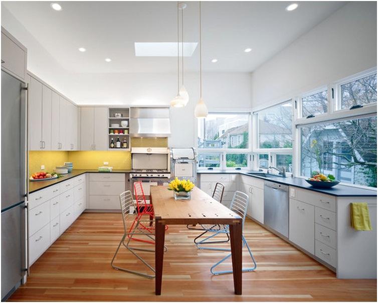 Desain ruang makan kecil menyatu dengan dapur minimalis mewah terbaru