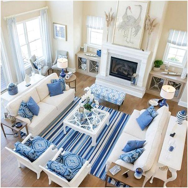 Desain ruang tamu minimalis kecil sempit mungil sederhana mewah unik biasa warna biru terbaru