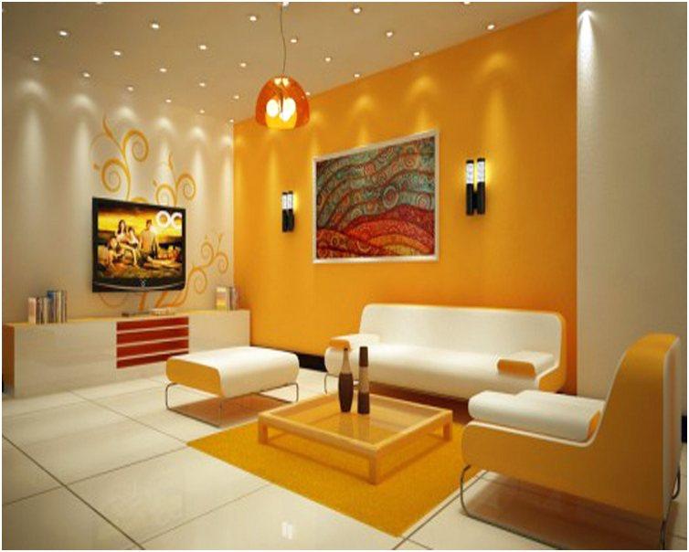 Desain ruang tamu minimalis mungil unik mewah sederhana biasa warna orange 3x3 terbaru