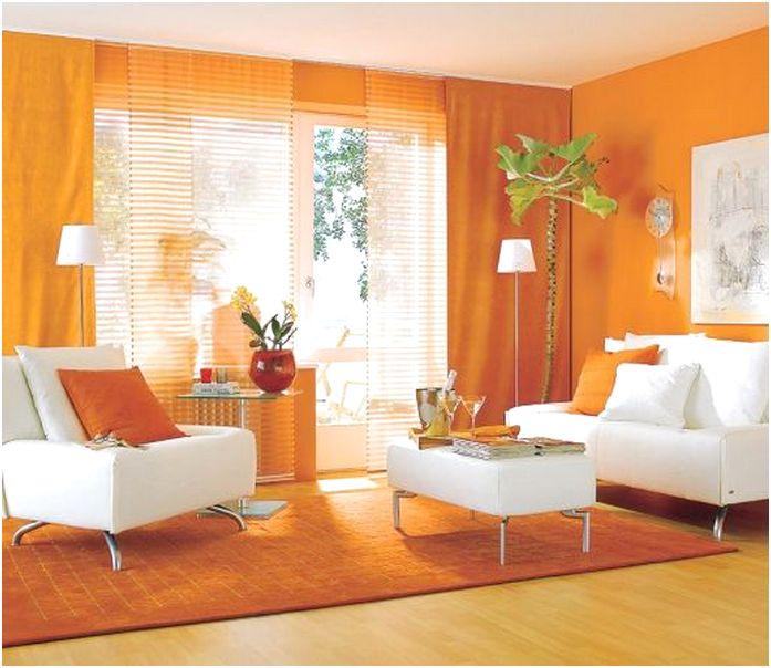 Desain ruang tamu minimalis mungil unik mewah warna orange 3x3 terbaru