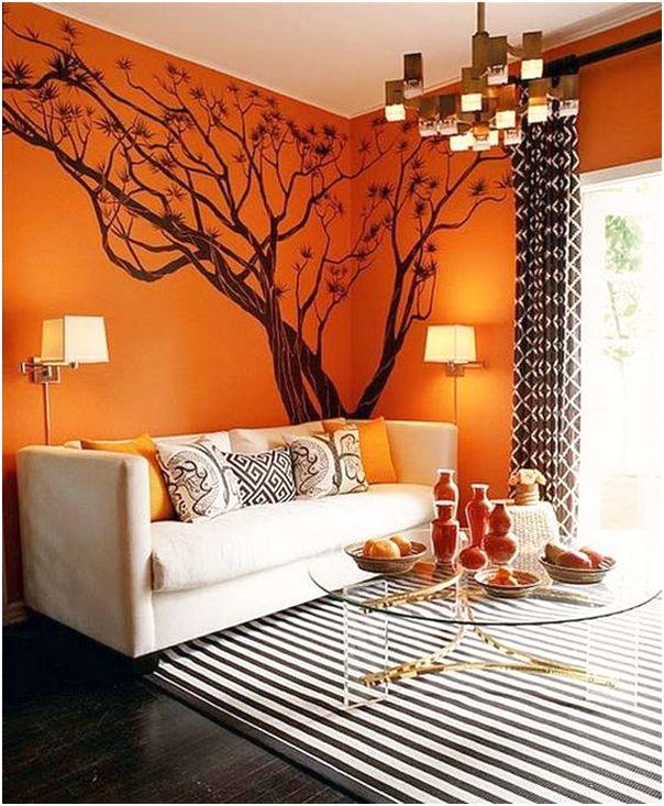 Desain ruang tamu minimalis mungil unik modern mewah sederhana warna orange 3x3 terbaru