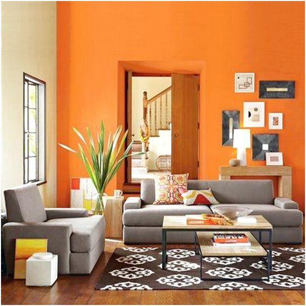 Desain ruang tamu minimalis mungil unik modern warna orange 3x3 terbaru