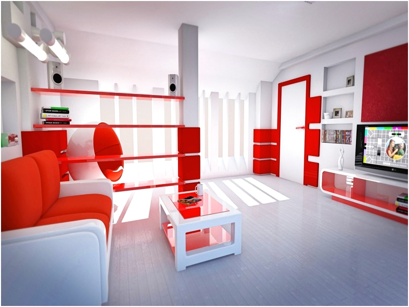 Desain ruang tamu minimalis sempit kecil mungil sederhana mewah biasa warna merah terbaru