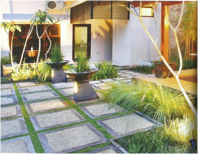 Desain taman kecil depan rumah minimalis lahan sempit sederhana modern terbaru