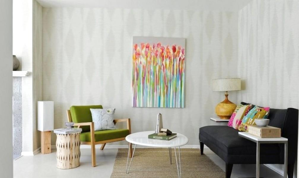 Elegan Ide Desain Wallpaper Dinding Ruang Tamu Minimalis Nyaman Mempesona Mewah Terbaru