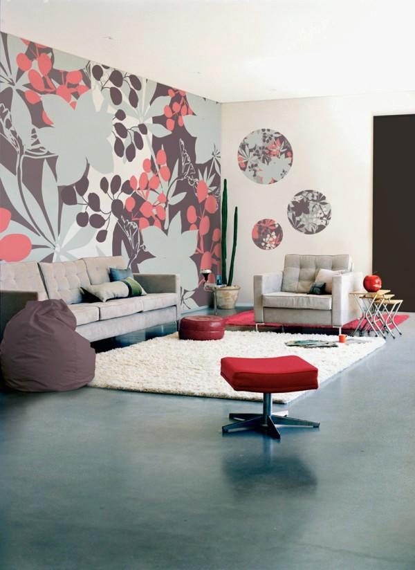 Gambar Desain Wallpaper Dinding Ruang Tamu Minimalis Sederhana Motif Bunga Nyaman Modern Mewah Elagan Terbaru