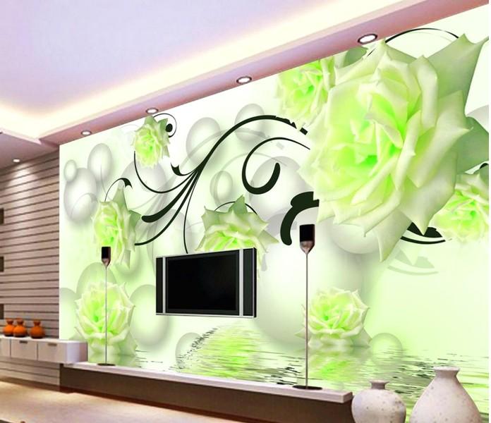 Ide Brilian Desain Wallpaper Dinding Ruang Tamu Minimalis Motif 3D Bunga Mawar Warna Hijau Elegan Mewah Nyaman Asri Modern Terbaru