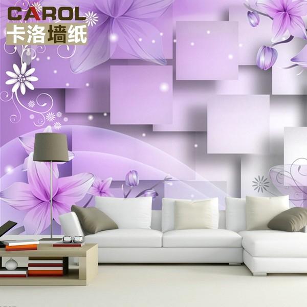 Ide Desain 3D Wallpaper Dinding Ruang Tamu Minimalis Motif Bunga Modern Nyaman Mempesona Cantik NaturalTerbaru Warna Ungu