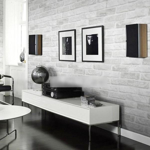 Ide Desain Wallpaper Dinding Ruang Tamu Minimalis Motif 3D Batu Bata Modern Terbaru Warna Hitam Putih