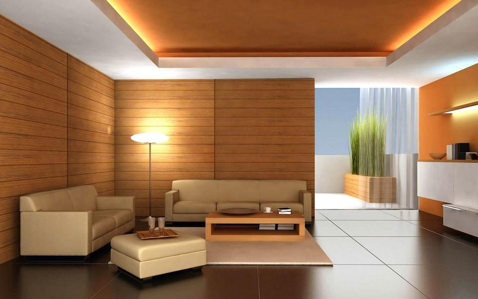 Ide Desain Wallpaper Dinding Ruang Tamu Minimalis Motif Kayu Elegan Mewah stylish Terbaru Warna Cokelat Orange