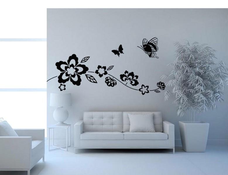 Ide Desain Wallpaper Dinding Ruang Tamu Minimalis Motif Kupu Kupu Elegan Mewah stylish Terbaru Warna Hitam Putih