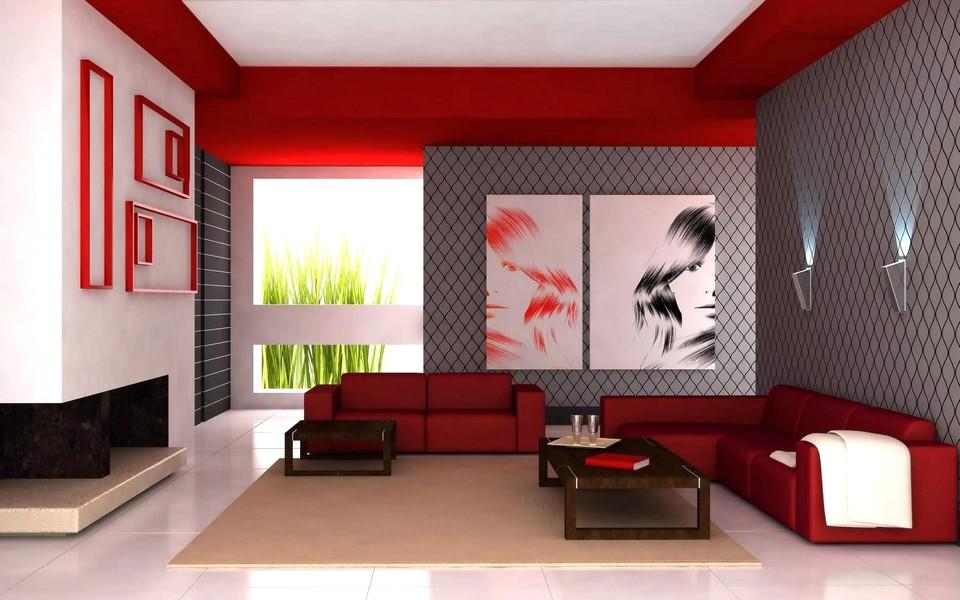 Ide Desain Wallpaper Dinding Ruang Tamu Minimalis Motif Modern Elegan Indah Warna Merah Abu-Abu