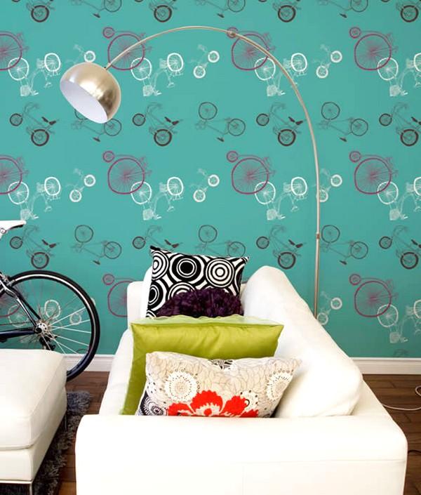 Ide Idaman Desain Wallpaper Dinding Ruang Tamu Minimalis Motif Sepeda Warna Biru Elegan Mempesona Cantik Mewah Terbaru