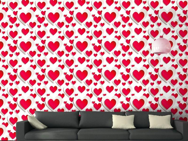 Indah Sekali Desain Wallpaper Dinding Ruang Tamu Minimalis Pink Motif Love Cinta Menawan Nyaman Elegan Mempesona Mewah Terbaru