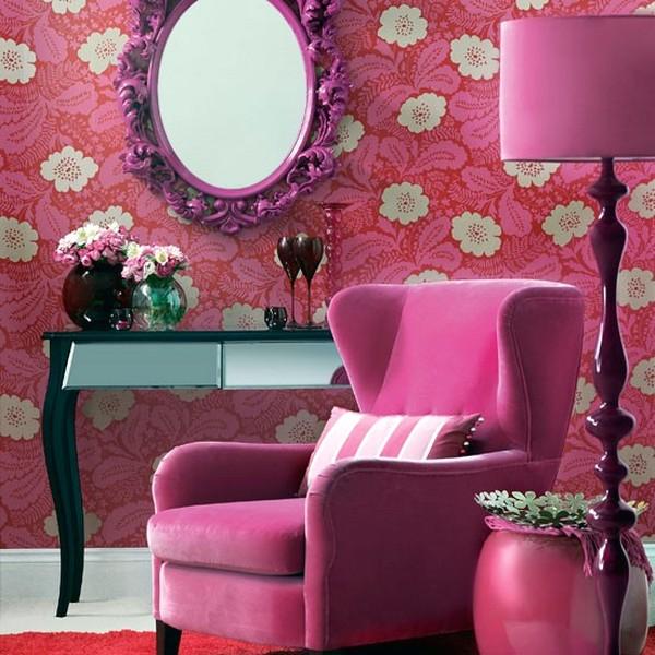 Luar Biasa Ide Desain Wallpaper Dinding Ruang Tamu Minimalis Pink Motif Bunga Modern Klasik Elegan Mempesona Cantik Mewah Terbaru
