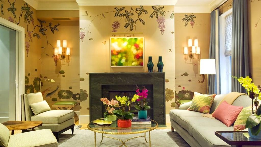 Mempesona Desain Wallpaper Dinding Ruang Tamu Minimalis Motif Bunga