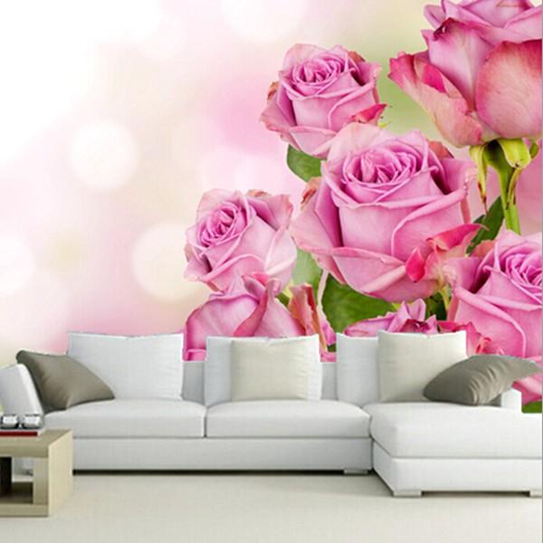 Mempesona Desain Wallpaper Dinding Ruang Tamu Minimalis Pink Motif 3D Bunga Modern Elegan Cantik Mewah Terbaru
