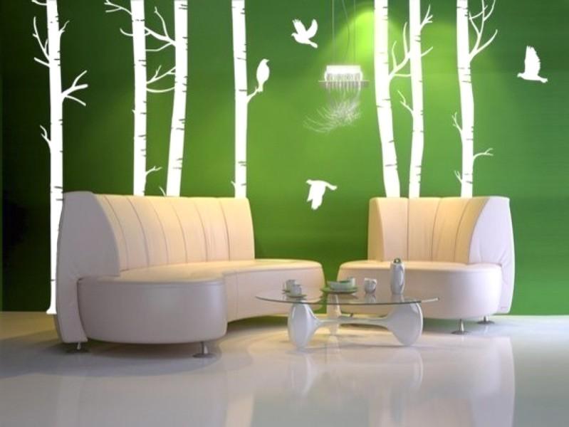 Mempesona Ide Desain Wallpaper Dinding Ruang Tamu Minimalis Motif Bambu Warna Hijau Putih Asri Elegan Mewah Nyaman Modern Terbaru