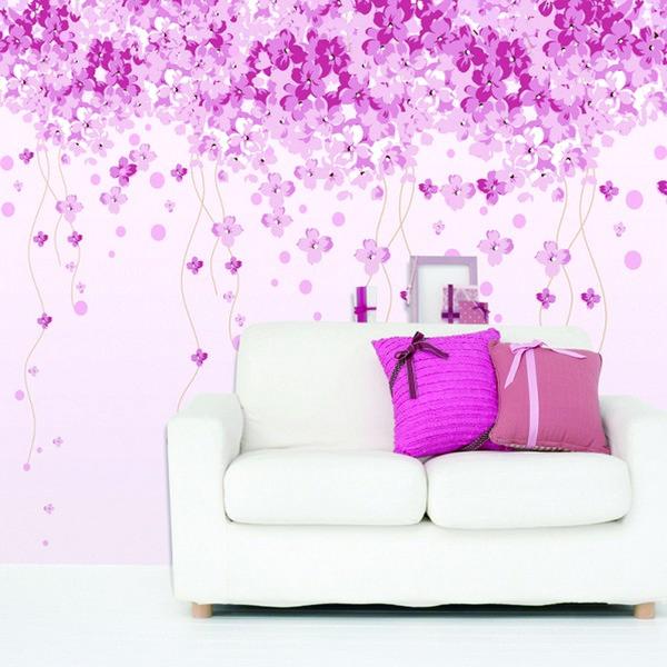 Mempesona Ide Desain Wallpaper Dinding Ruang Tamu Minimalis Motif Bunga Warna Pink Ungu Elegan Mewah Nyaman Modern Terbaru