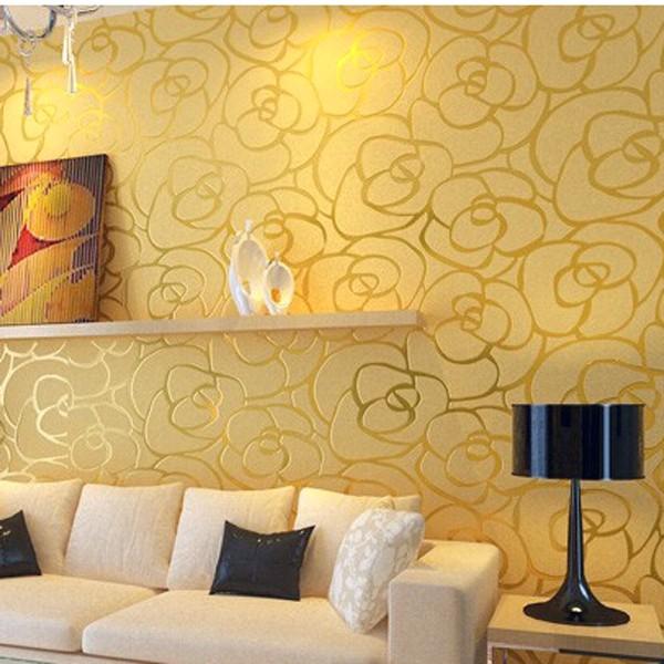 Mempesona Ide Desain Wallpaper Dinding Ruang Tamu Minimalis Motif Mawar Emas Elegan Mewah Nyaman Modern Terbaru