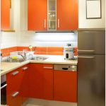 Modern Desain Dapur Minimalis Dapur Mungil Sederhana Terbuka Type 2x3 Warna Cat Orange Terbaru