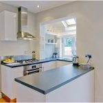 Modern Desain Dapur Minimalis Mungil Sederhana Dapur Minimalis Terbuka Type 2x3 Warna Cat Biru Terbaru