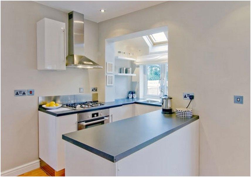 Modern Desain Dapur Minimalis Mungil Sederhana Terbuka Type 2 3 Warna Cat Biru Terbaru