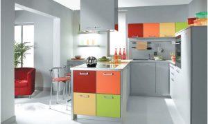 Modern Desain Dapur Minimalis Mungil Sederhana Terbuka Elegant Type 3x3 Warna Cat Abu abu Terbaru