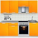 Modern Desain Dapur Minimalis Mungil Sederhana Terbuka Type 2x2 Warna Cat Orange Terbaru