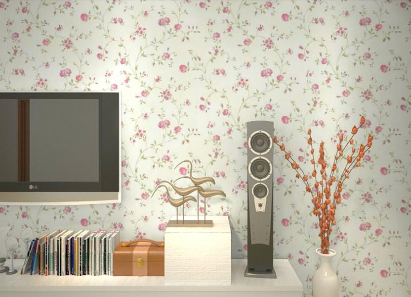 Modern Ide Desain Wallpaper Dinding Ruang Tamu Minimalis Kecil Motif Bunga Warna Pink Putih Elegan Nyaman Asri Mempesona Terbaru