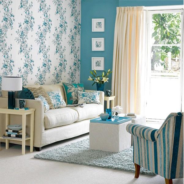 Modern Ide Desain Wallpaper Dinding Ruang Tamu Minimalis Motif Bunga Warna Biru Putih Elegan Nyaman Asri