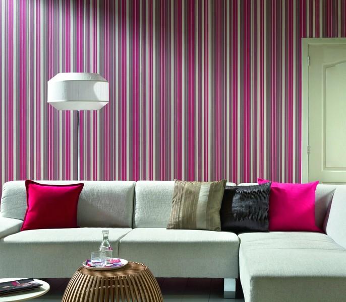 Simple Desain Wallpaper Dinding Ruang Tamu Minimalis Pink Motif Garisgaris Menawan Nyaman Mewah Modern Terbaru